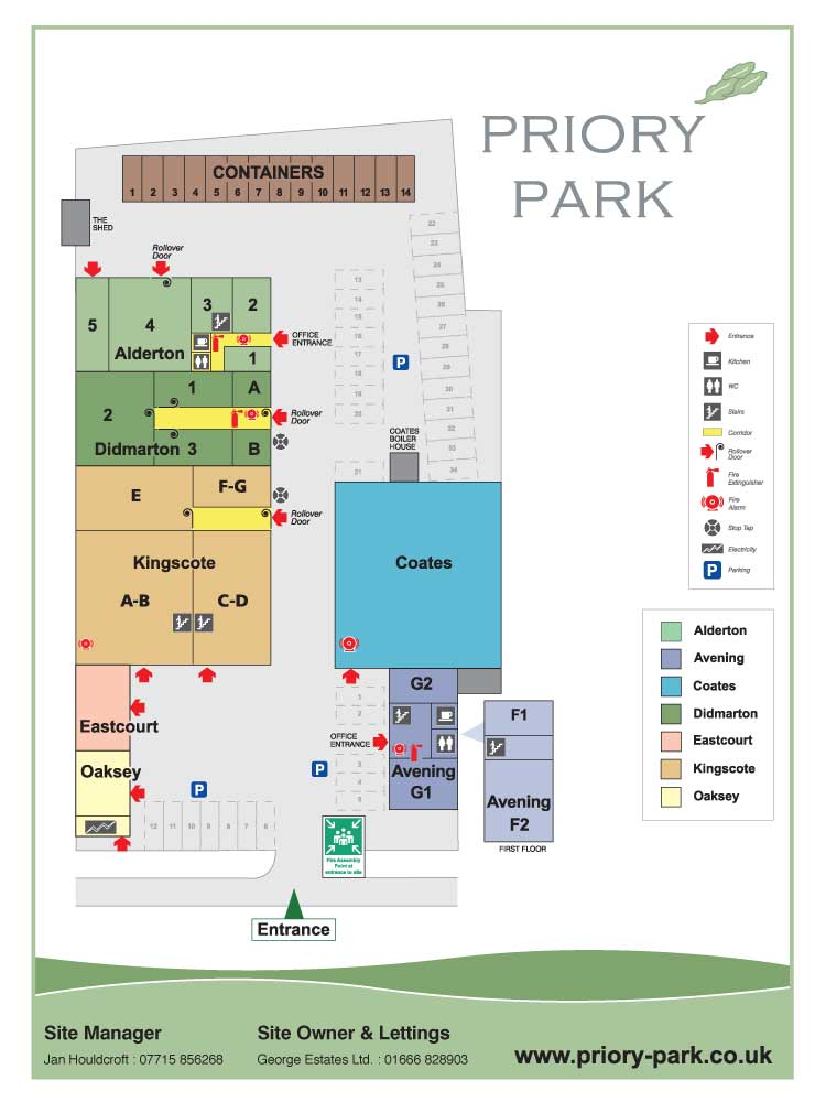 Site Map of Priory Park, Tetbury